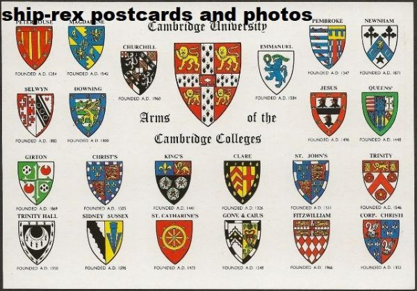 Cambridge University, college arms, postcard